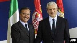 Italijanski šef diplomatije Franko Fratini i predsednik Srbije Boris Tadić tokom susreta u Beogradu