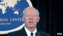 Laksamana Robert Willard, Panglima Militer Amerika untuk kawasan Asia dan Pasifik memberikan keterangan pers di Washington (27/1).