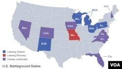 """Negara-negara bagian yang disebut """"battleground states"""" atau penentu dalam pemilihan presiden 2012. (Foto: Dok)"""