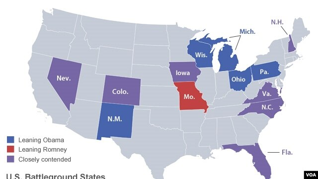 Battleground states in the 2012 U.S. presidential election (click to expand)