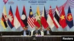 비비안 발라크리쉬난 싱가포르 외교장관이 2일 싱가포르에서 열린 동남아시아국가연합(ASEAN) 외교 장관 회의의 전체회의 중 발언하고 있다. 사진 제공= ASEAN 2018 Organising Committee