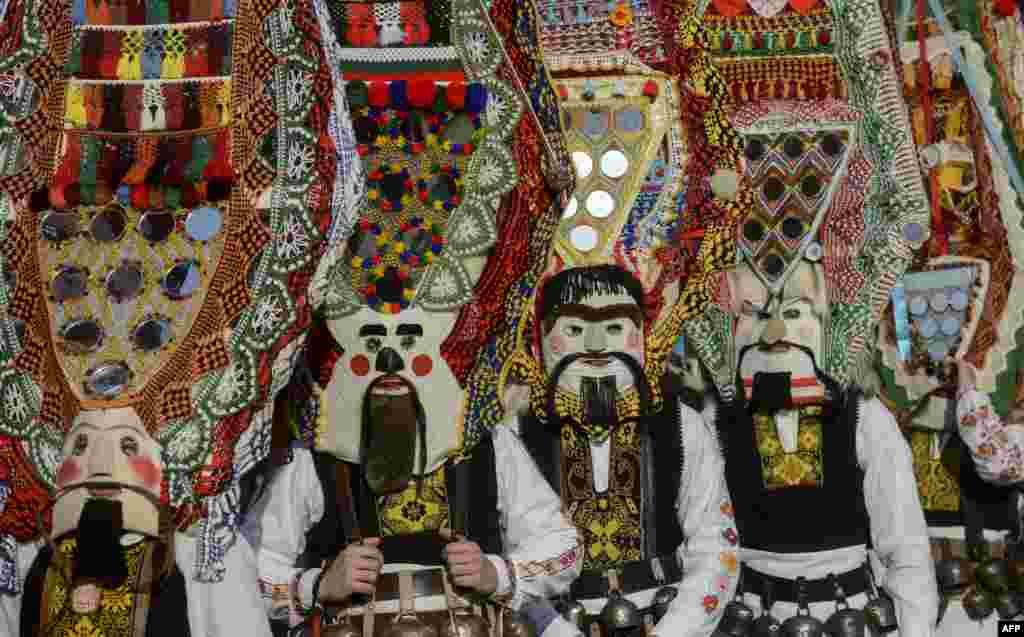 "Dancers, known as ""Kukeri"", perform during the International Festival of the Masquerade Games in Pernik, near Sofia, Bulgaria."
