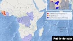 Ramani ya Afrika ikioonesha maeneo ambayo watu wana ambukizwa na virusi vya Ebola kutoka wanyama pori