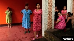 FILE - Pregnant women stand outside a maternity home in Jinotega city, some 160 km (99 miles) north of Managua, Thailand, Oct. 24, 2013. Thailand has become the first Asian Pacific country to end mother-to-child transmission of HIV and syphilis.