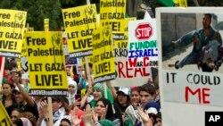 Demonstran pro-Palestina di depan Gedung Putih, Sabtu 2 Agustus 2014.