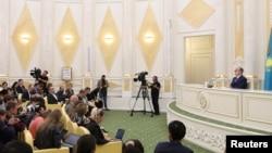 Kazakhstan's President Kassym-Jomart Tokayev attends a news conference at the Akorda presidential residence in Nur-Sultan, Kazakhstan, June 10, 2019.
