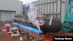 3일 한국 울산 현대중공업에서 한국 해군의 다섯 번째 214급 잠수함인 '윤봉길함'의 진수식이 열렸다.
