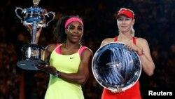 世界排名第一的美國女子網球員莎蓮娜.威廉絲(左)擊敗俄羅斯舒拉寶娃,獲得澳大利亞網球錦標。