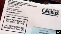 FILE - An envelope contains a 2018 census test letter mailed to a resident in Providence, R.I., March 23, 2018.