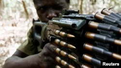 A Ugandan soldier tracking down Lord's Resistance Army (LRA) fugitive leaders. (File photo).