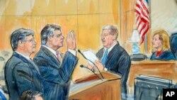 Судебный скетч: Пол Манафорт (в центре) и его адвокат Ричард Уэстлинг (слева) в федеральном суде округа Колумбия, сентябрь 2018 года