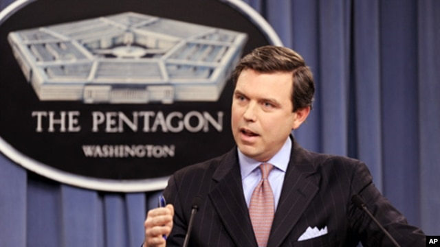 Pentagon Press Secretary Geoff Morrell updates reporters during a press briefing at the Pentagon (File)