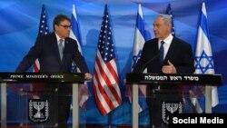 نخست وزیر اسرائیل در کنفرانس خبری مشترک با ریک پری، وزیر انرژی ایالات متحده