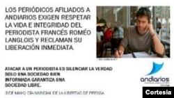 Periodicos colombianos publicaron un anuncio pidiendo la libertad del reportero francés Roméo Langlois. [Foto: Andiarios]
