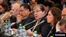 Intervención del canciller Carlos Holmes Trujillo en la Conferencia Internacional por la Democracia en Venezuela.