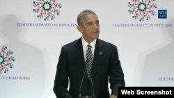 باراک اوباما رئیس جمهوری آمریکا در نشست ویژه سازمان ملل درباره آوارگان و پناهجویان - ۳۰ شهریور ۱۳۹۵