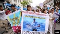 Dân Việt Nam xuống đường biểu tình vụ cá chết hàng loạt