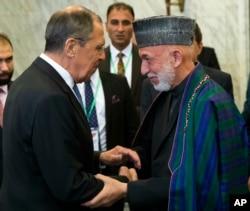 Министр иностранных дел России Сергей Лавров и экс-президент Афганистана Хамид Карзай, Москва, 28 мая 2019 года