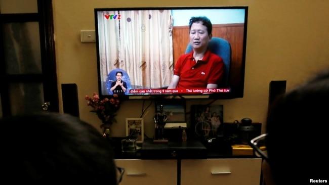 Ông Trịnh Xuân Thanh xuất hiện trên VTV tự thú vào đầu tháng 8/2017.