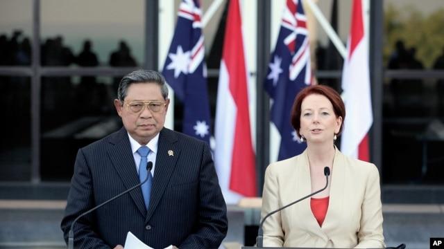 Presiden Susilo Bambang Yudhoyono dan PM Australia Julia Gillard melakukan konferensi pers bersama di Darwin, Australia (3/7).