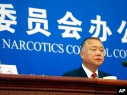 中國國際禁毒委員會副主任劉躍進在記者會上。(2019年9月3日)
