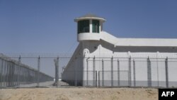 Lokasi dengan fasilitas pengamanan ketat yang diduga sebagai kamp penahanan bagi warga Muslim Uighur di Hotan, Xinjiang, China.