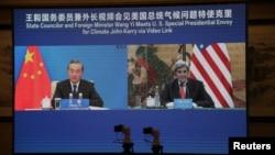 Đặc phái viên Mỹ về khí hậu John Kerry họp trực tuyến với Bộ trưởng Ngoại giao Trung Quốc Vương Nghị, 1/9/2021.