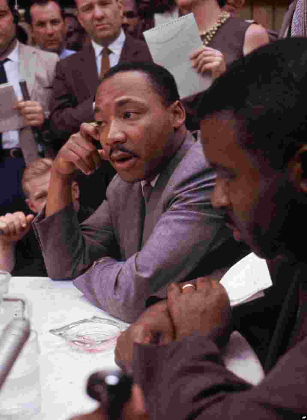 Martin Luther King Jr. attends a news conference in Birmingham, Alabama, May 9, 1963.