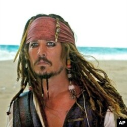 "Johnny Depp as Captain Jack Sparrow in ""Pirates of the Caribbean: On Stranger Tides"""