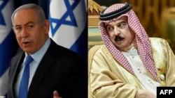 Isroil Bosh vaziri Benyamin Netanyaxu (chapda) va Bahrain Qiroli Hamad bin Isa al-Xalifa
