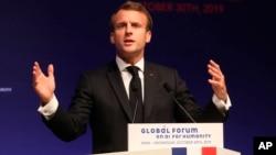 法國總統馬克龍10月30日講話資料照。