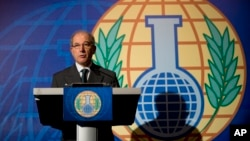 Director General of the OPCW, Ahmet Uzumcu, comments on the organization being awarded the Nobel Peace Prize, during a press conference in The Hague, Netherlands, Oct. 11, 2013.
