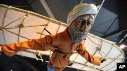 A replica of the first person said to have flown with wings is displayed at the science museum in central London on January 21, 2010. The debt owed by European scholars to their Muslim counterparts on everything from water pumps and blood circulation to e