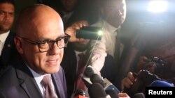 En la foto el ministro de comunicaciones de Venezuela Jorge Rodríguez.