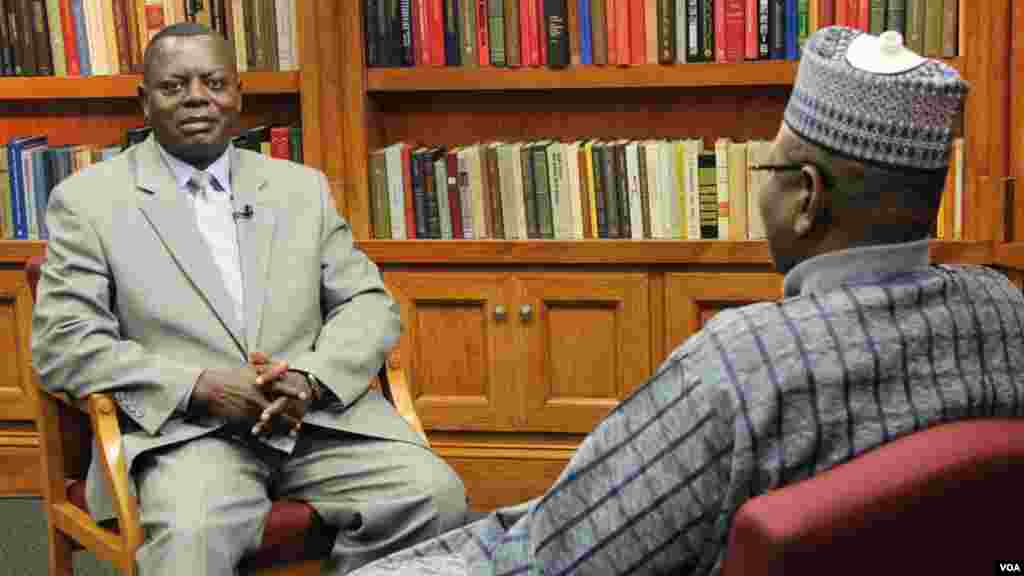 Jigawa State Governor Sule Lamido (R) is interviewed by Leo Keyen (L), Chief, VOA Hausa service.