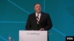سخنرانی مایک پمپئو وزیر خارجه آمریکا در کنفرانس «تغییرشکل انرژی آینده» در تگزاس - ۲۱ اسفند ۱۳۹۷