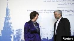 Yevropa Ittifoqi Tashqi ishlar vaziri Ketrin Ashton Eron vakili Said Jaliliy bilan Moskvada ko'rishdi, 18-iyun, 2012-yil.
