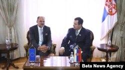 Premijer Srbije Ivica Dačić i izvestilac Evropskog parlamenta za Srbiju Jelko Kacin u Vladi Srbije