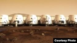 La imagen proporcionada por Mars One muestra cómo sería una colonia humana establecida en Marte.