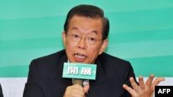 民進黨的前主席謝長廷10月1日在台北一個記者會上發言