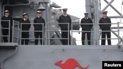 澳大利亞皇家海軍一艘阿德萊德級導彈護衛艦(路透社2019年4月21日)