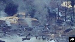 壳牌石油公司在尼日利亚部分村庄的石油泄漏情景。