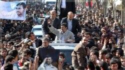 هواداران احمدی نژاد رییس جمهوری ایران در استان چهارمحال و بختیاری. ۹ نوامبر ۲۰۱۱