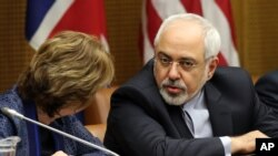 European foreign policy chief Catherine, Ashton, left, and Iranian Foreign Minister Mohammad Javad Zarif, right, wait for the start of closed-door nuclear talks in Vienna, Austria, Tuesday, June 17, 2014