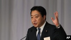 당대표 피선 후 연설하는 노다 요시히코