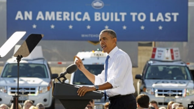 US President Barack Obama speaks about American energy and liquefied natural gas at a UPS facility in Las Vegas, Nevada, January 26, 2012.