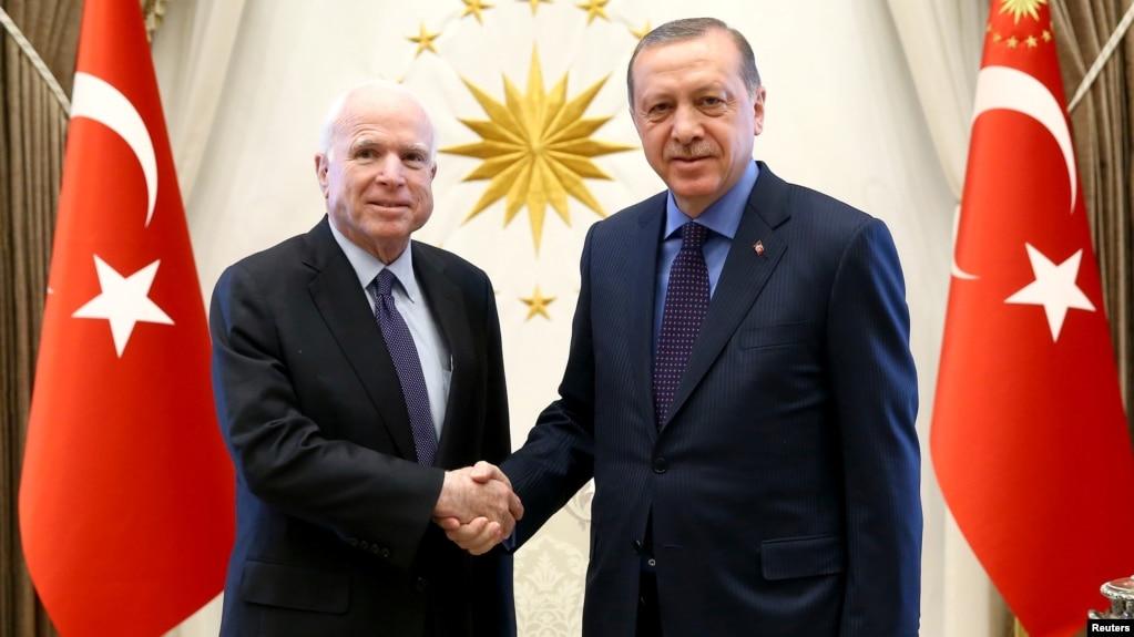 Turkish President Tayyip Erdogan, right, meets with U.S. Senator John McCain at the Presidential Palace in Ankara, Feb. 20, 2017.