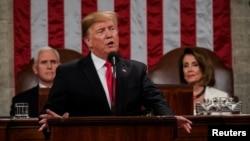 دونالدترمپ، رئیس جمهور ایالات متحده حین سخنرانی در مجلس مشترک کانگرس امریکا