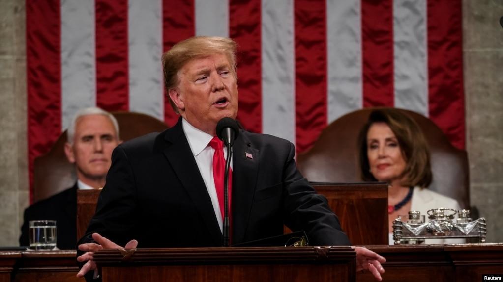 El presidente Donald Trump reiteró el apoyo a Venezuela en su discurso el martes 5 de febrero de 2019.