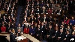 상하양원 합동회의장에서 새해 국정계획을 밝히는 오바마 대통령